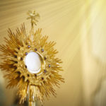 Ostensory for worship at a Catholic church ceremony - Adoration to the Blessed Sacrament - Catholic Church - Eucharistic Holy Hour - Corpus Christi